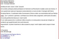 lettera di ringraziamento Dr. Bernardo Gili Presidente Ordine Psicologi Marche